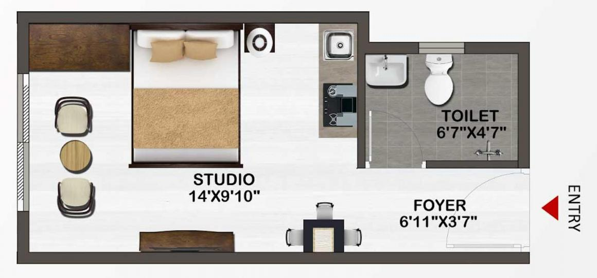 Sowparnika Unnathi Floor Plan: 1 BHK Unit with Built up area of 302 sq.ft 1