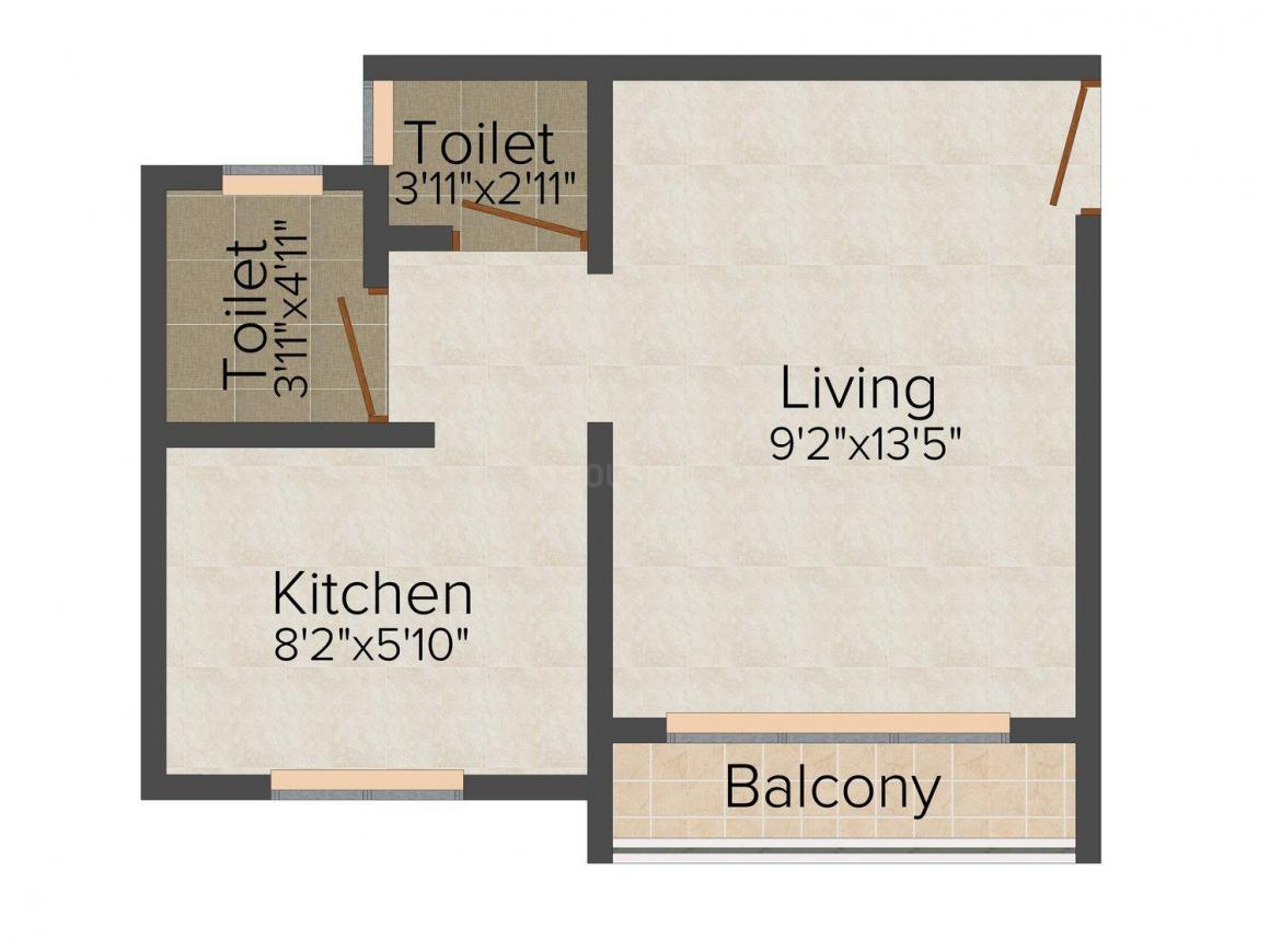 Floor Plan Image of 370 - 490 Sq.ft 1 RK Apartment for buy in GS Galaxy Apartment