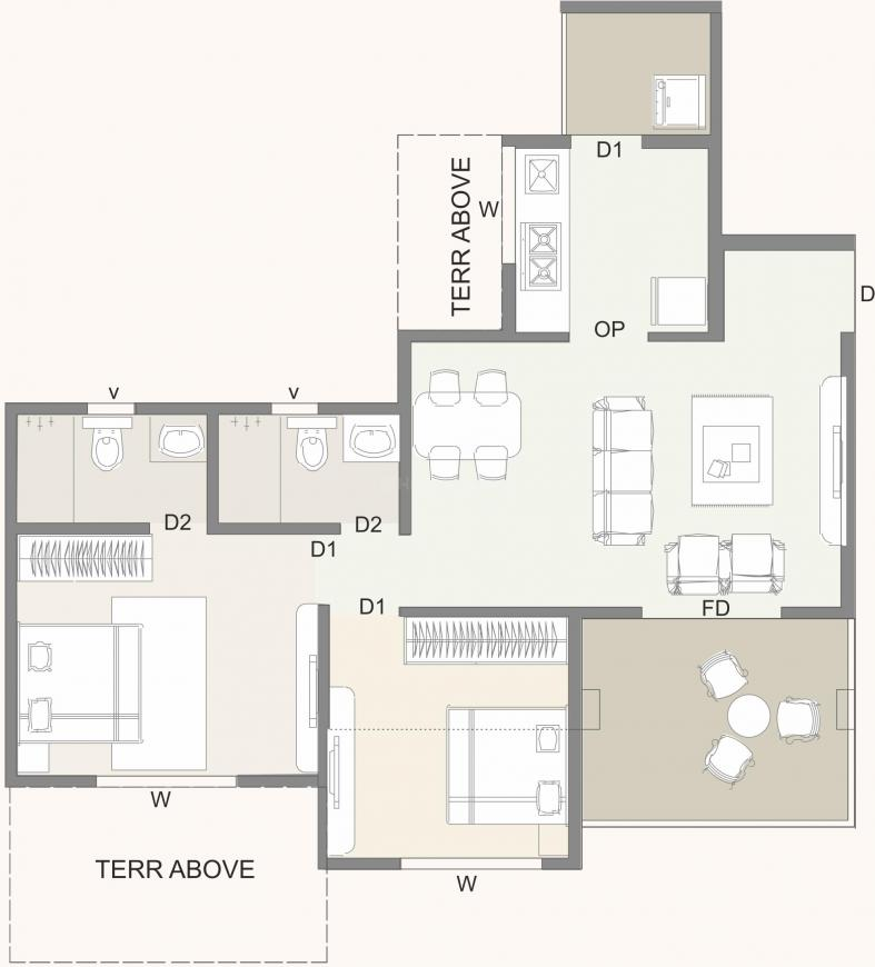 Kolte Patil Western Avenue Floor Plan: 2 BHK Unit with Built up area of 567 sq.ft 1