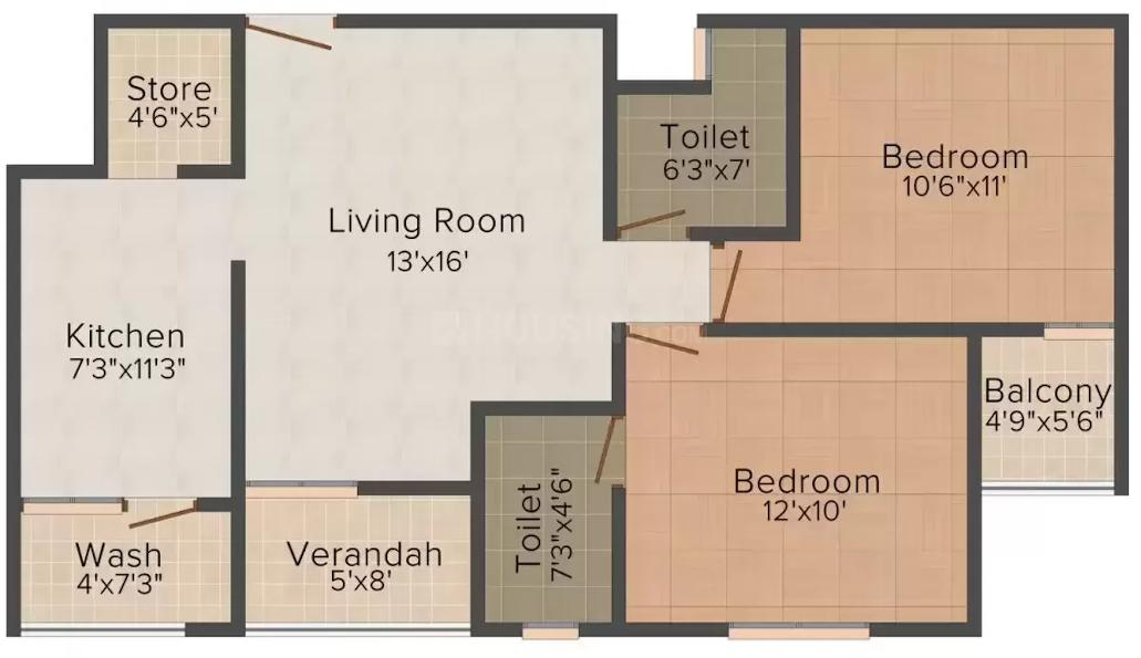 Bhavya Royal Residency Floor Plan: 2 BHK Unit with Built up area of 1080 sq.ft 1