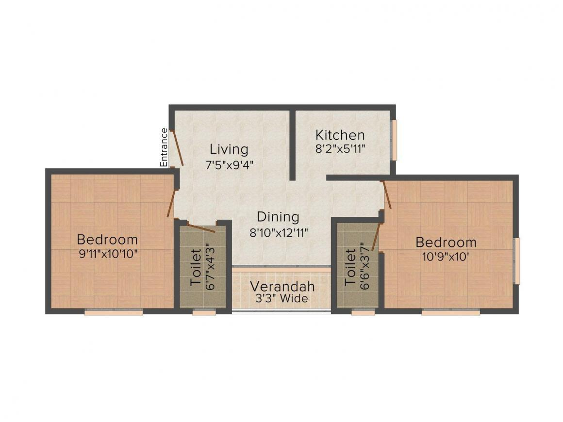 Floor Plan Image of 765 - 1120 Sq.ft 2 BHK Apartment for buy in Rajwada Marvella