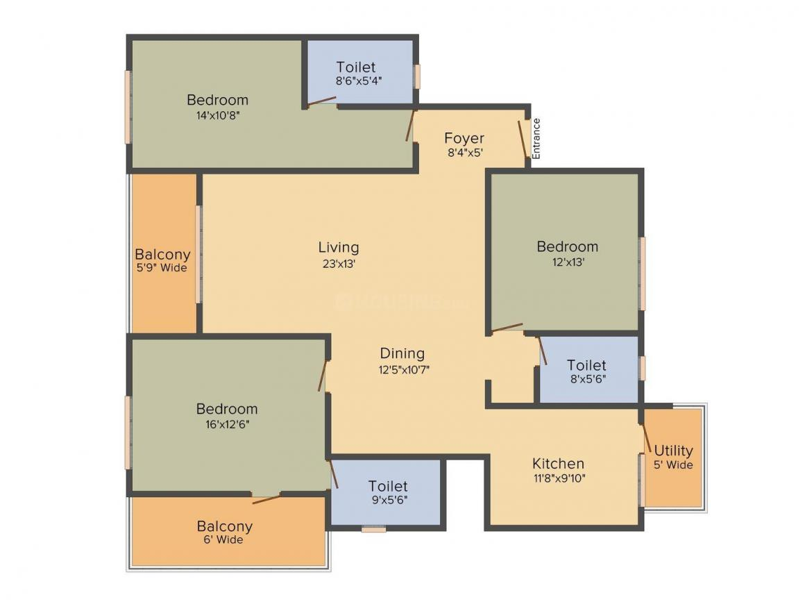 Floor Plan Image of 0 - 2063 Sq.ft 3 BHK Apartment for buy in Ajmera Arista