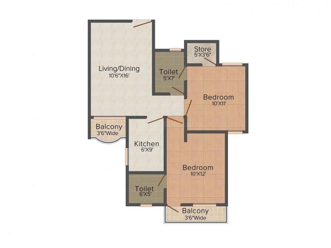 Vardhman Jurs country Floor Plan: 2 BHK Unit with Built up area of 880 sq.ft 1