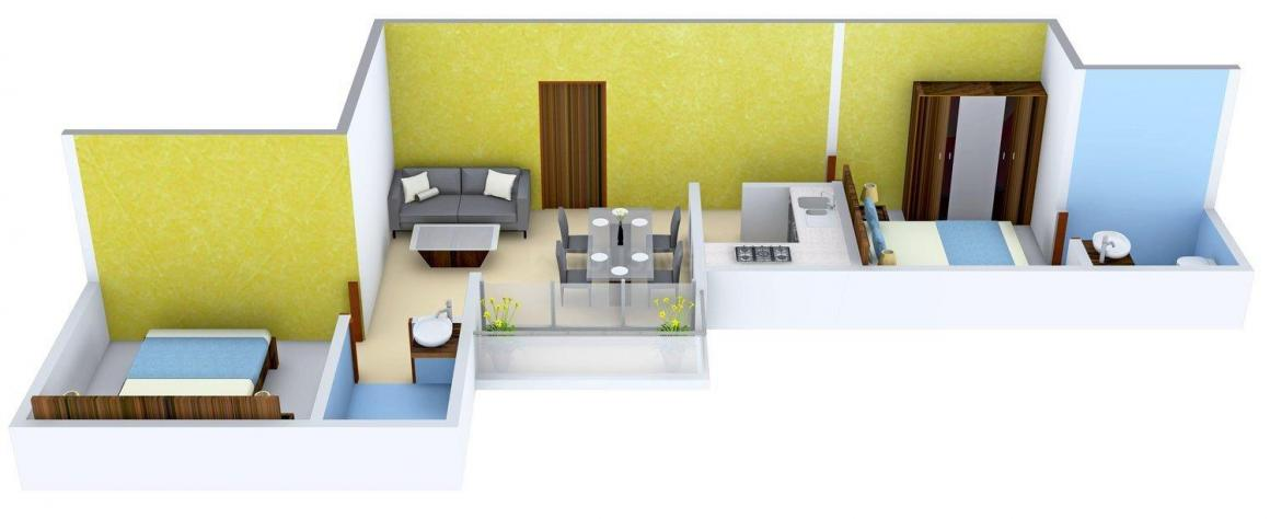 Floor Plan Image of 855.0 - 1090.0 Sq.ft 2 BHK Apartment for buy in Rajwada Elanza
