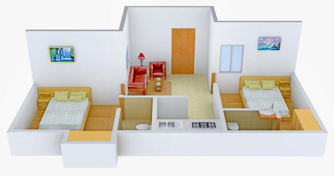 AHFL Aadinath Haven Floor Plan: 2 BHK Unit with Built up area of 660 sq.ft 1