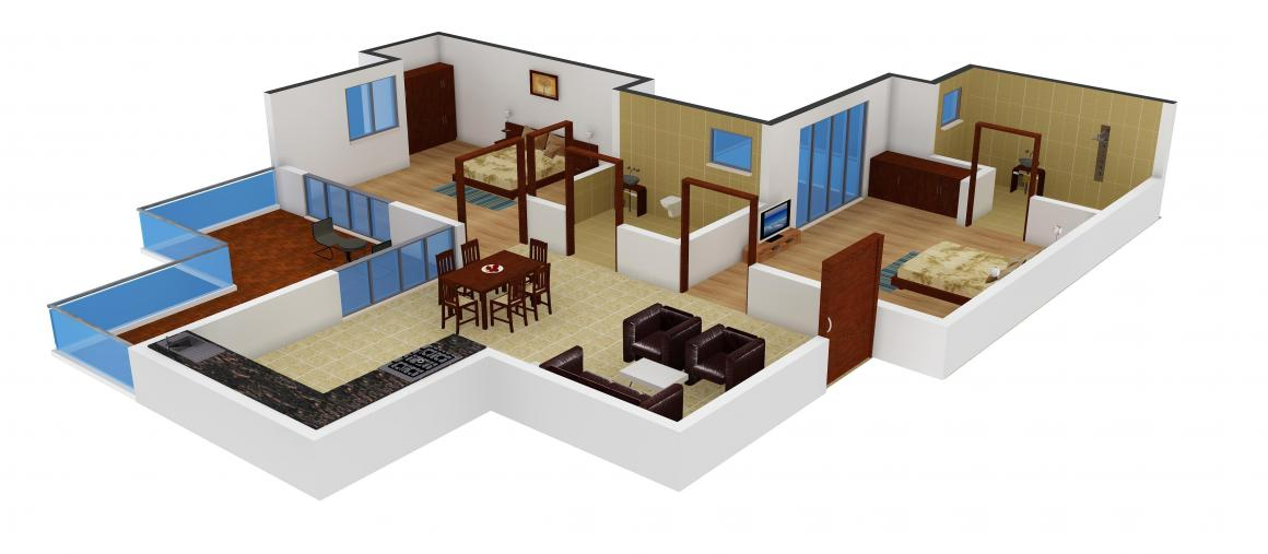 Amrapali Tropical Garden Floor Plan: 2 BHK Unit with Built up area of 885 sq.ft 1
