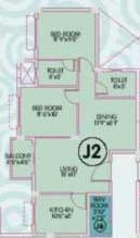 Ideal Enclave Phase 1 Floor Plan: 2 BHK Unit with Built up area of 1095 sq.ft 1