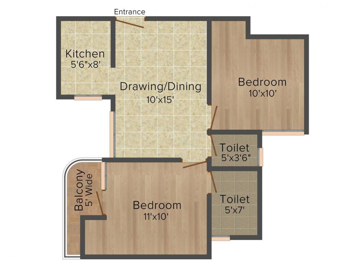 Ambey Rani Balaji Apartment Floor Plan: 2 BHK Unit with Built up area of 800 sq.ft 1