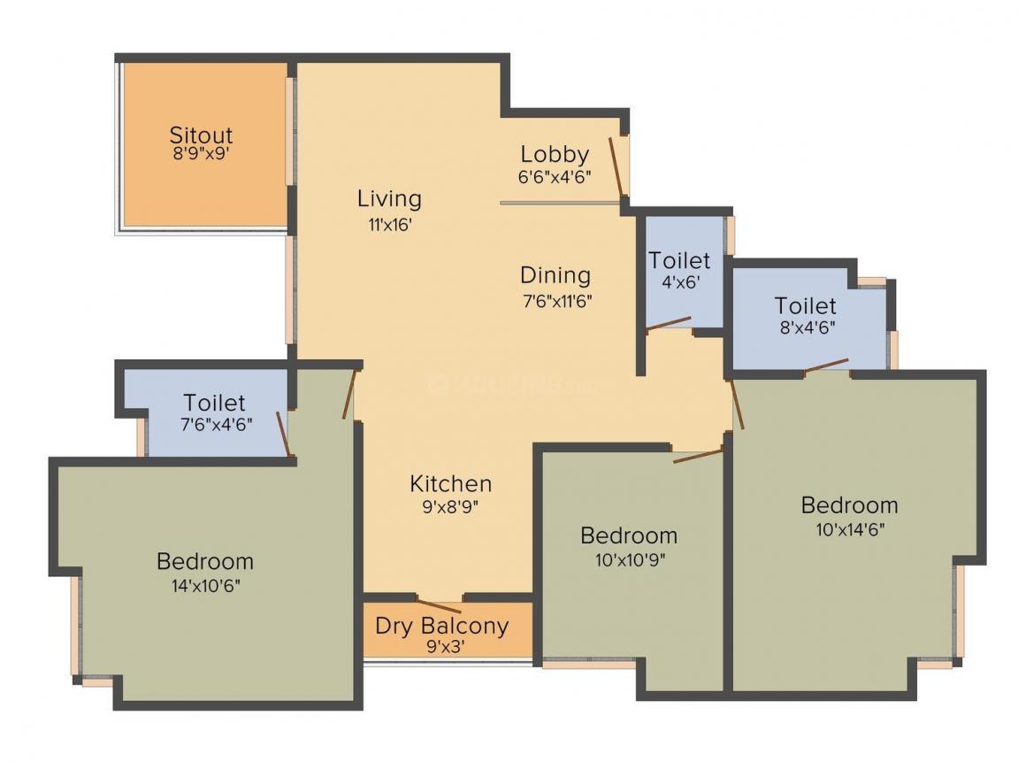 Pandit Radhakrishna Floor Plan: 3 BHK Unit with Built up area of 1501 sq.ft 1