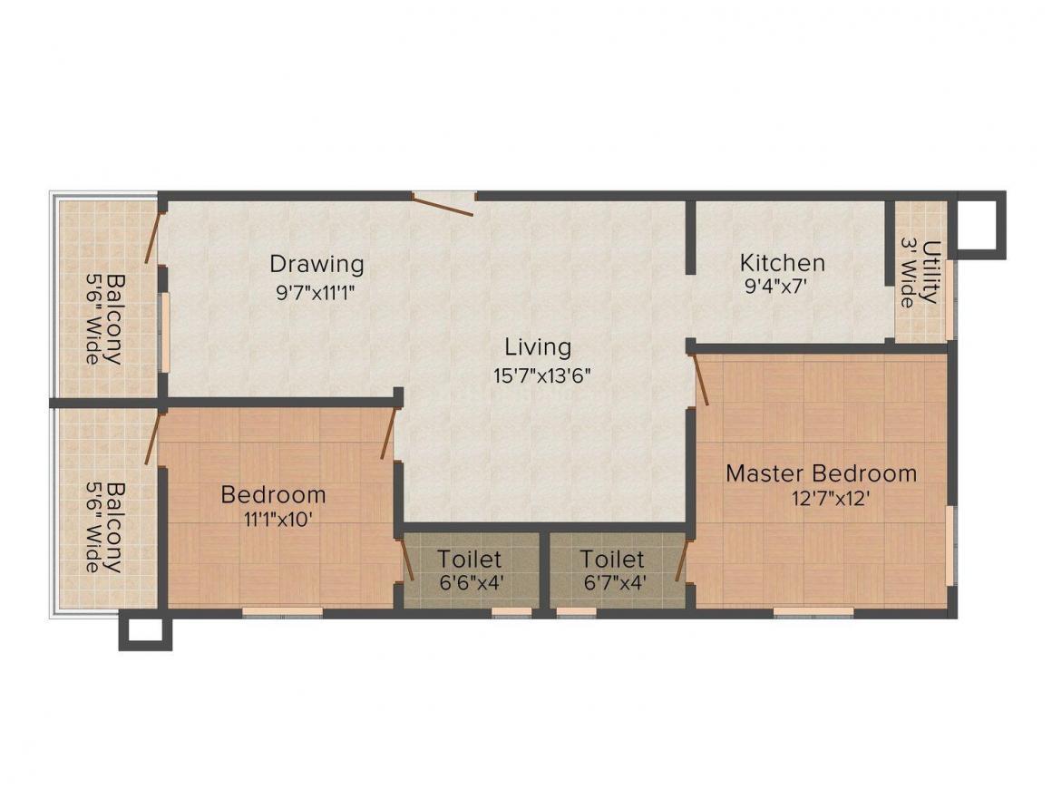 Floor Plan Image of 1100.0 - 1608.0 Sq.ft 2 BHK Apartment for buy in HSR Amruta Akash