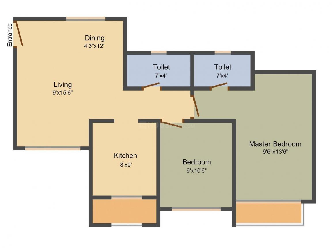 Chheda Rameshwar Towers Floor Plan: 2 BHK Unit with Built up area of 860 sq.ft 1