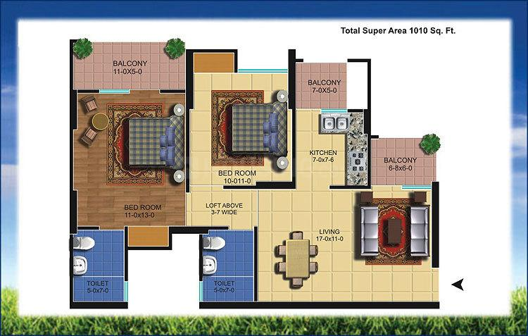 The Antriksh Golf View Floor Plan: 2 BHK Unit with Built up area of 1010 sq.ft 1