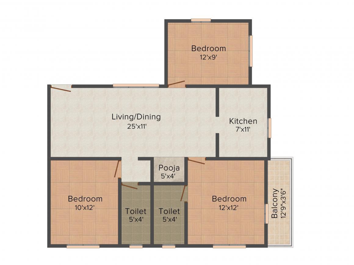 Floor Plan Image of 940 - 1110 Sq.ft 2 BHK Apartment for buy in Raba Rockville