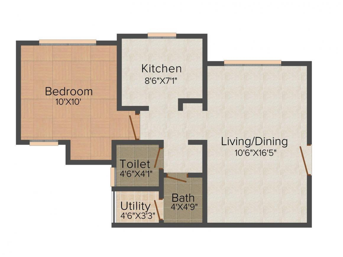 Floor Plan Image of 0 - 615.0 Sq.ft 1 BHK Apartment for buy in Galaxy Carina