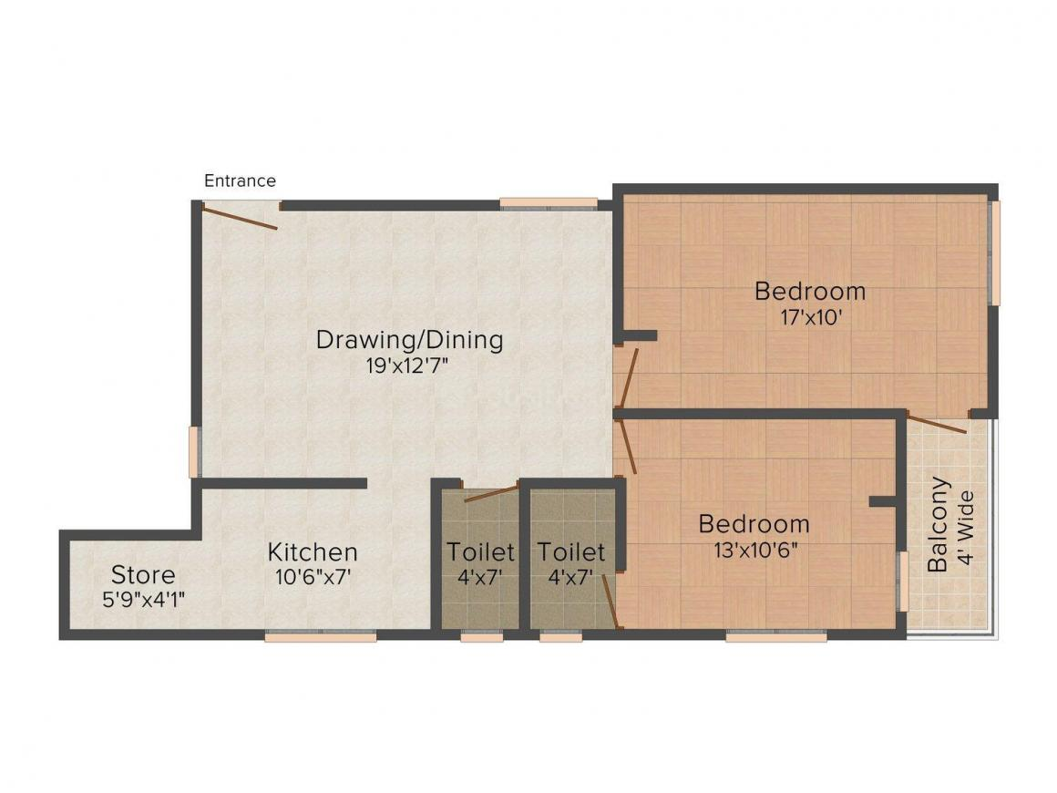 Floor Plan Image of 1025.0 - 1300.0 Sq.ft 2 BHK Apartment for buy in Radhey Krishna Apartment