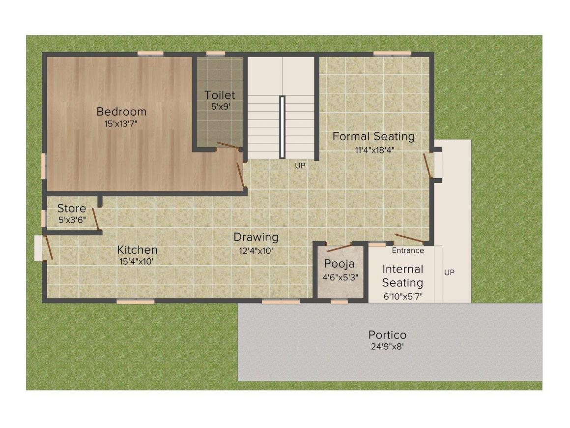 Pragnya Riverbridge Bridge County A Type Villas Floor Plan: 3 BHK Unit with Built up area of 2655 sq.ft 1