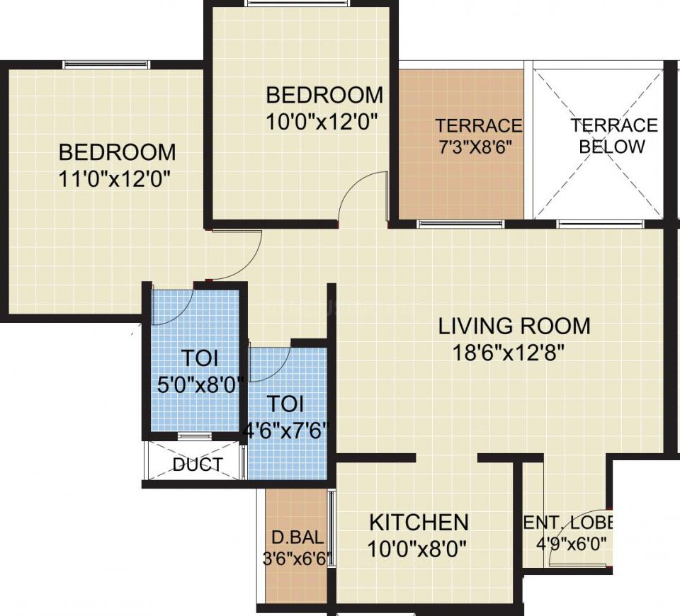 Pride Aashiyana Floor Plan: 2 BHK Unit with Built up area of 1050 sq.ft 1
