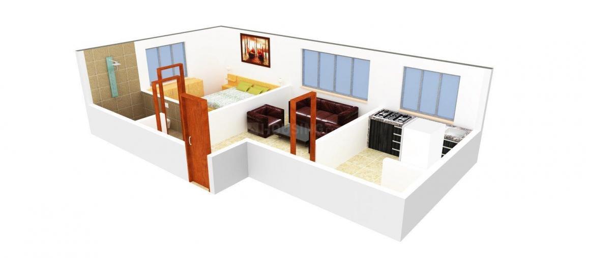 Sunpark Shreyas Floor Plan: 1 BHK Unit with Built up area of 588 sq.ft 1