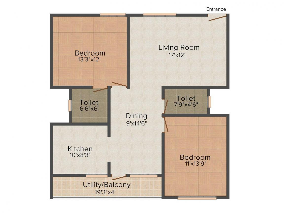 Floor Plan Image of 1200.0 - 1415.0 Sq.ft 2 BHK Apartment for buy in United Daffodil