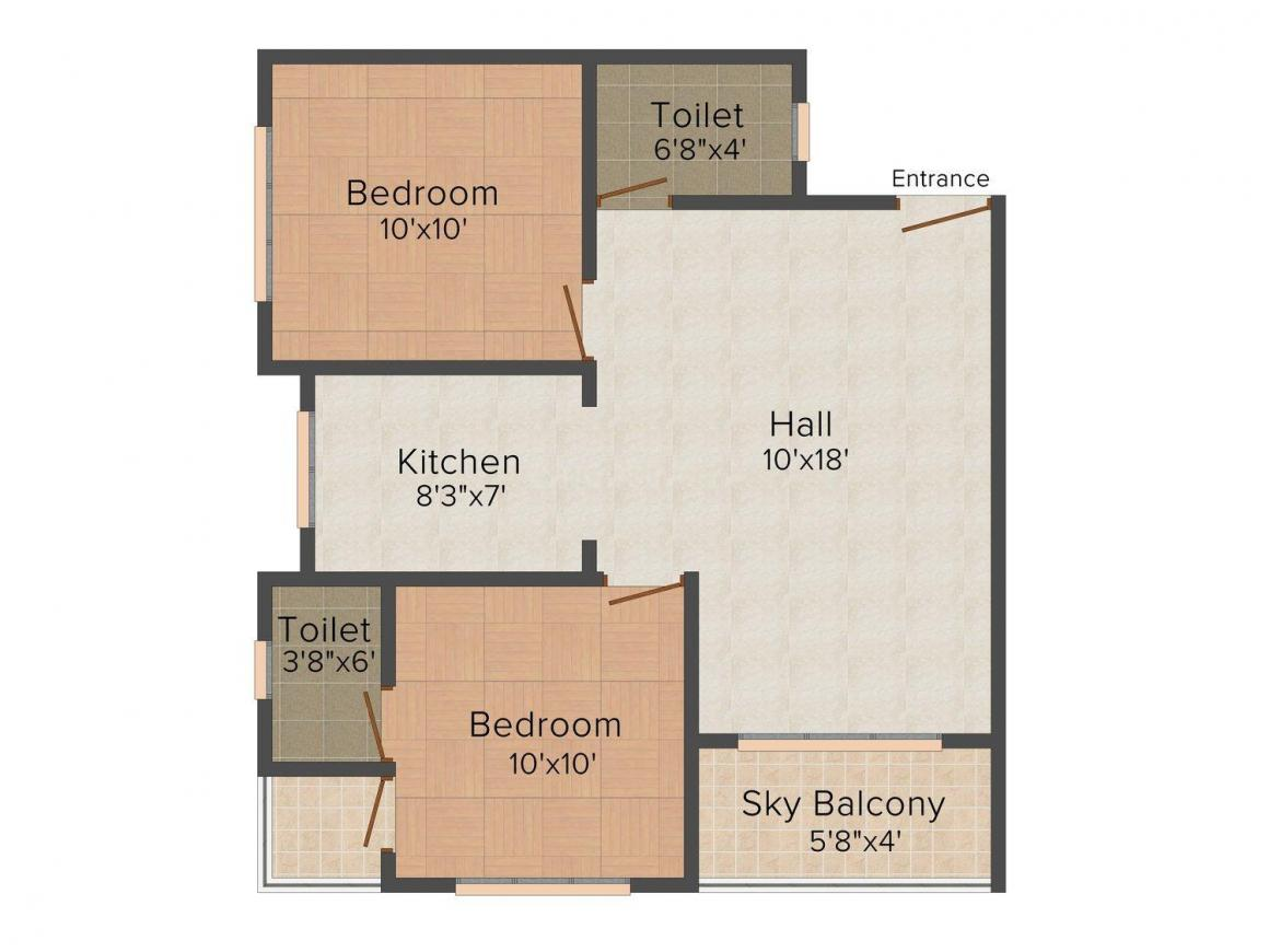 Xotik Sea View Floor Plan: 2 BHK Unit with Built up area of 1050 sq.ft 1