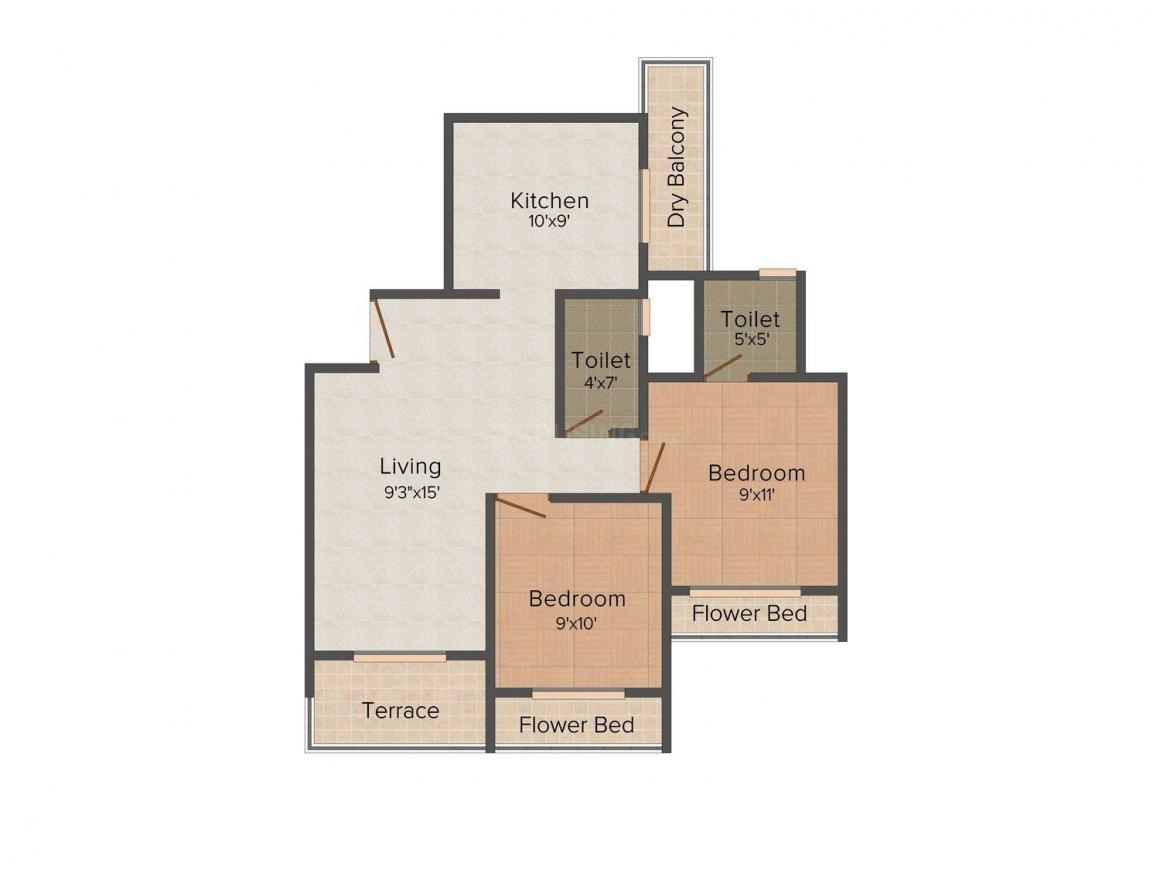 Dadan Green Park Floor Plan: 2 BHK Unit with Built up area of 1045 sq.ft 1