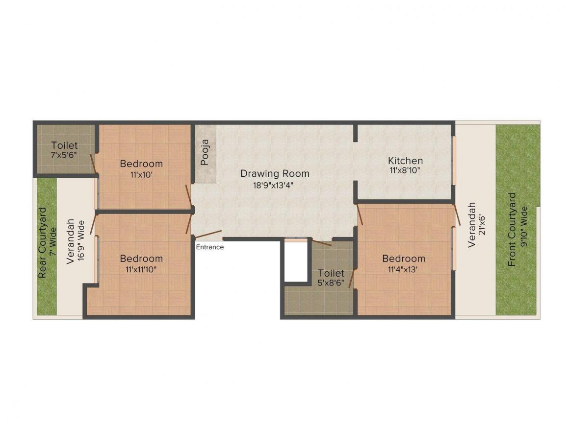 Floor Plan Image of 0 - 2200.0 Sq.ft 3 BHK Apartment for buy in Creative Homes 6