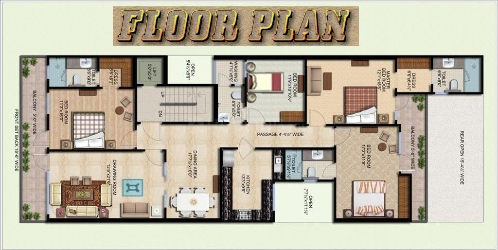 Sabh Floor Plan: 4 BHK Unit with Built up area of 2600 sq.ft 1