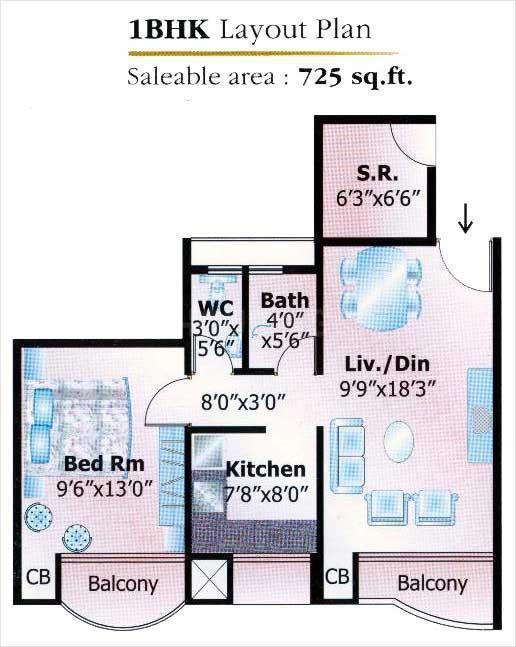 Keshav Kunj 3 Floor Plan: 1 BHK Unit with Built up area of 725 sq.ft 1