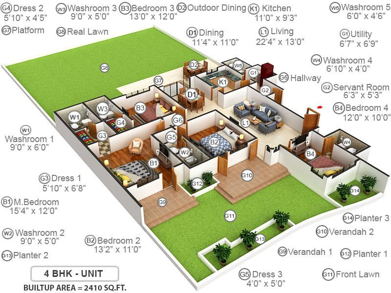 Emaar Palm Terraces Select Floor Plan: 4 BHK Unit with Built up area of 2410 sq.ft 1