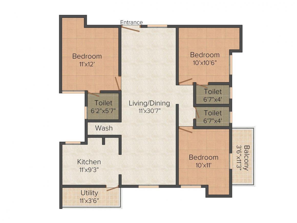 Floor Plan Image of 0 - 1405.0 Sq.ft 3 BHK Apartment for buy in Sri Sainivasam