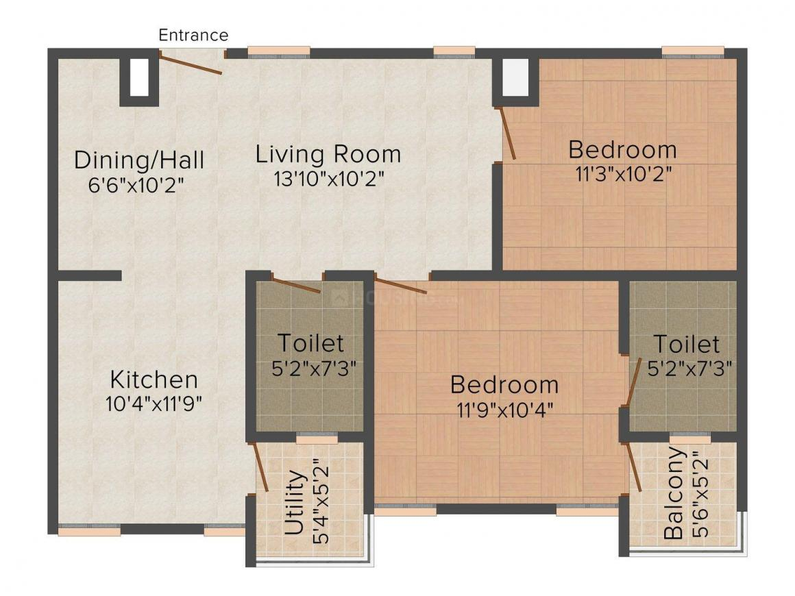Floor Plan Image of 0 - 1200 Sq.ft 2 BHK Apartment for buy in Anutham