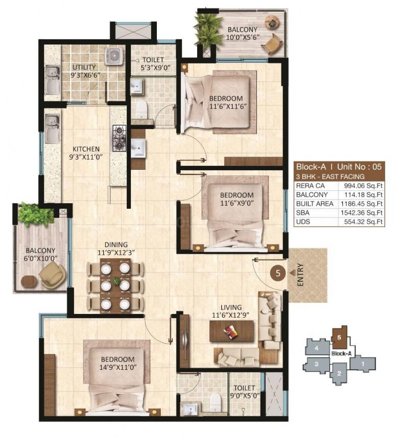 Maangalya Park Avenue Floor Plan: 3 BHK Unit with Built up area of 1542 sq.ft 1