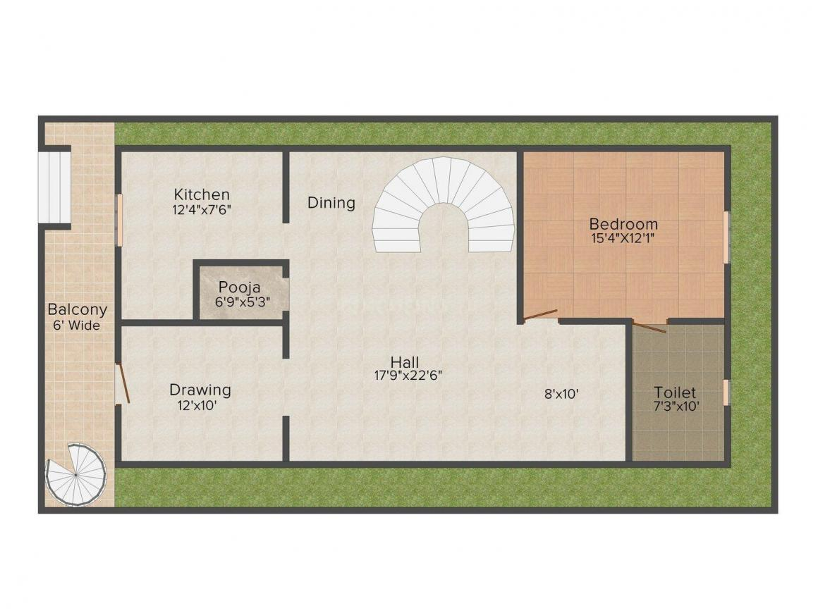 S S Builders Row Houses Floor Plan: 4 BHK Unit with Built up area of 2600 sq.ft 1