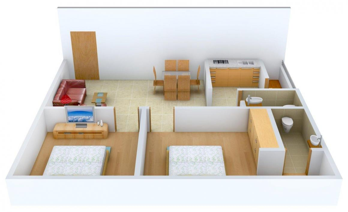 Floor Plan Image of 950.0 - 1360.0 Sq.ft 2 BHK Apartment for buy in SRS Soma Heights