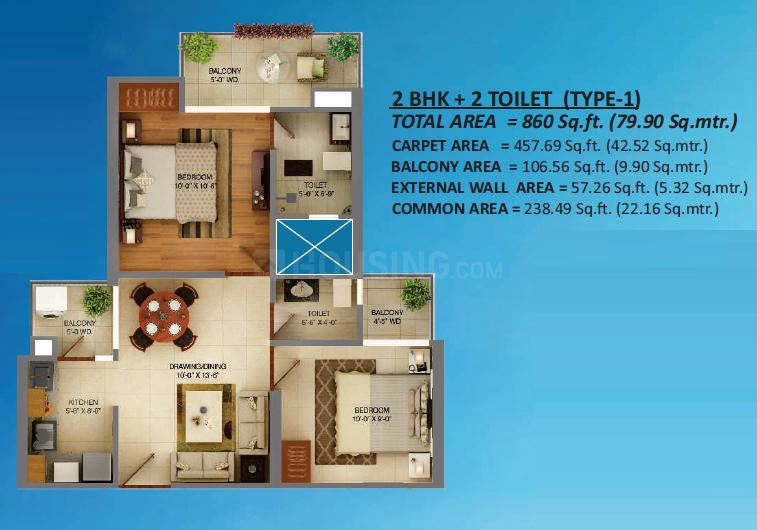 Palm Marina Suites Floor Plan: 2 BHK Unit with Built up area of 860 sq.ft 1