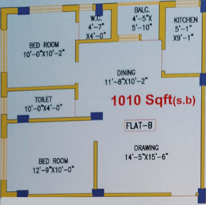 Anita Residency Floor Plan: 2 BHK Unit with Built up area of 1010 sq.ft 1