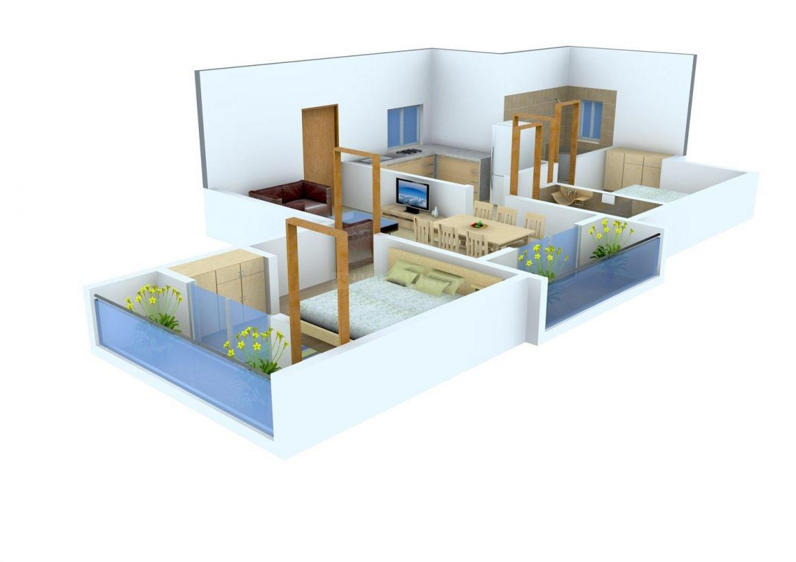 Jeni Joel Galaxy Floor Plan: 2 BHK Unit with Built up area of 878 sq.ft 1