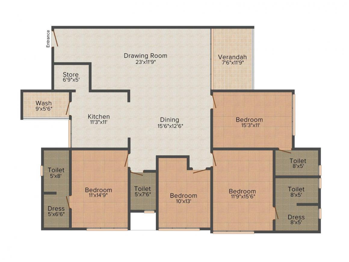 Floor Plan Image of 0 - 2979.0 Sq.ft 4 BHK Apartment for buy in Kala Square