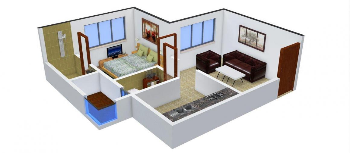 Floor Plan Image of 392.0 - 433.0 Sq.ft 1 BHK Apartment for buy in  MS Mody Mickey's Enclave