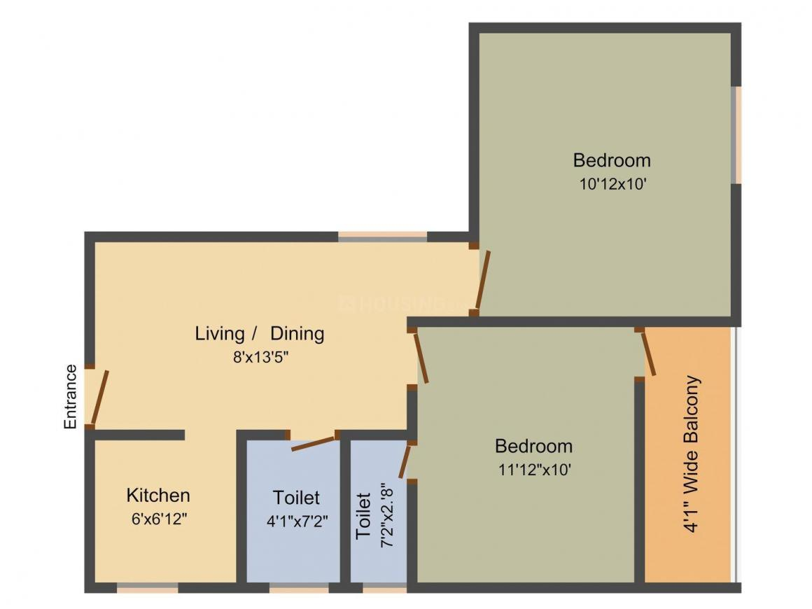 Floor Plan Image of 721 - 1227 Sq.ft 2 BHK Apartment for buy in Salasar Anandomoyee Apartment