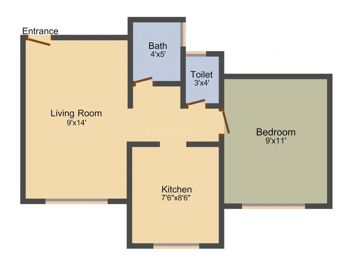 Aryan Classic Floor Plan: 1 BHK Unit with Built up area of 508 sq.ft 1
