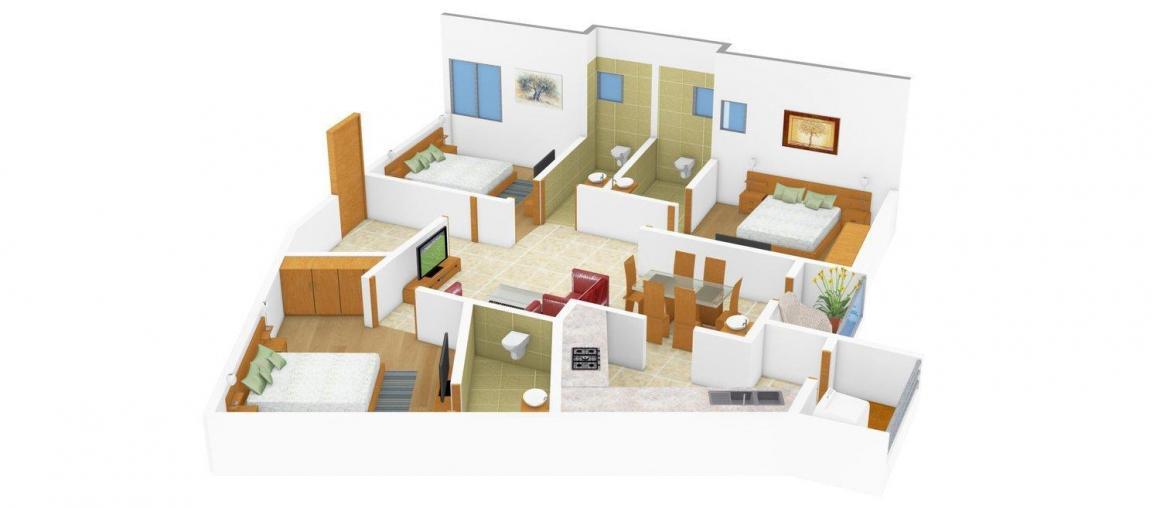 Floor Plan Image of 0 - 1114 Sq.ft 3 BHK Apartment for buy in Guhan Padmalaya Residency
