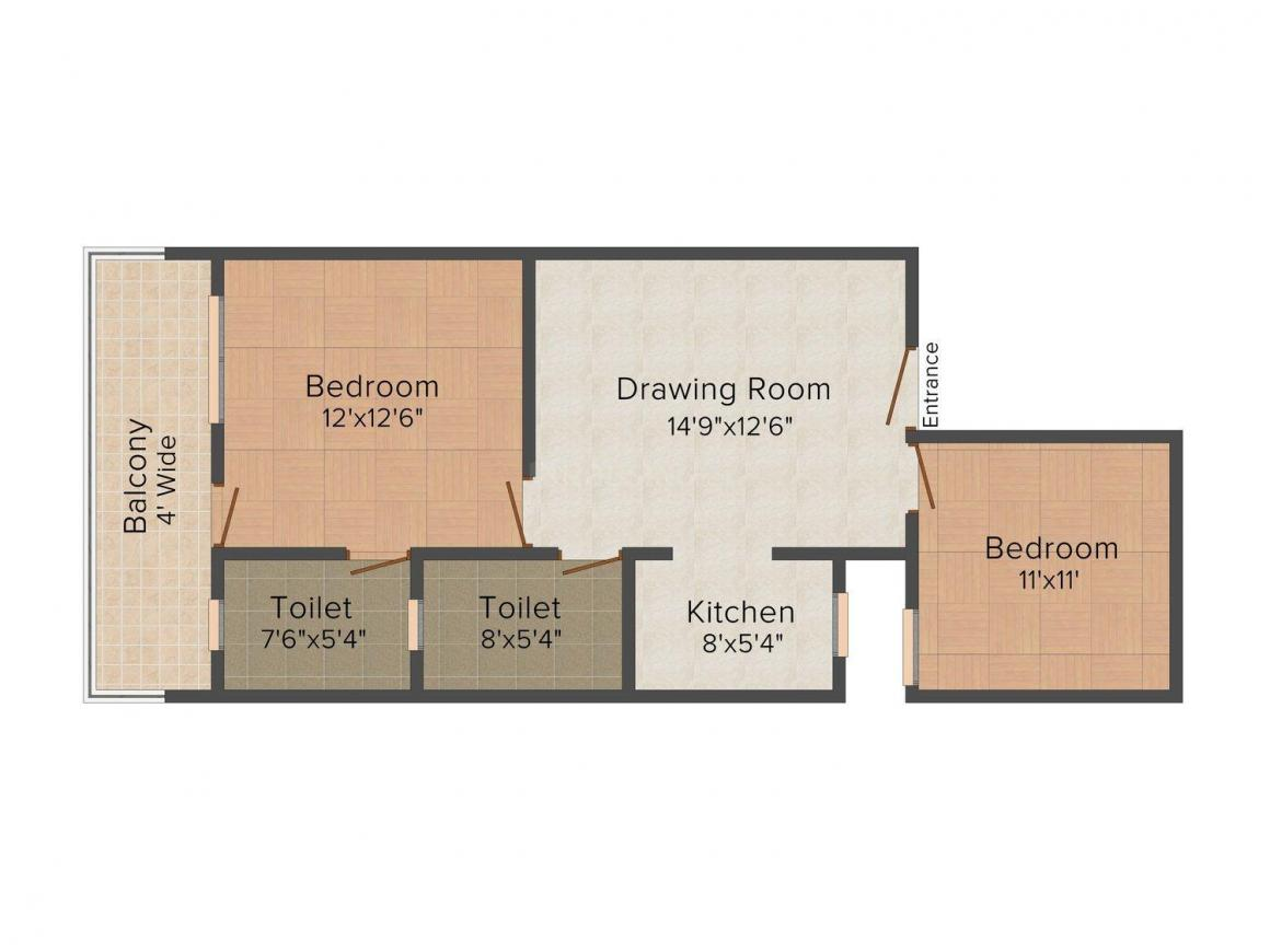 Floor Plan Image of 0 - 750 Sq.ft 2 BHK Independent Floor for buy in Aggarwal Parvesh Homz - 2