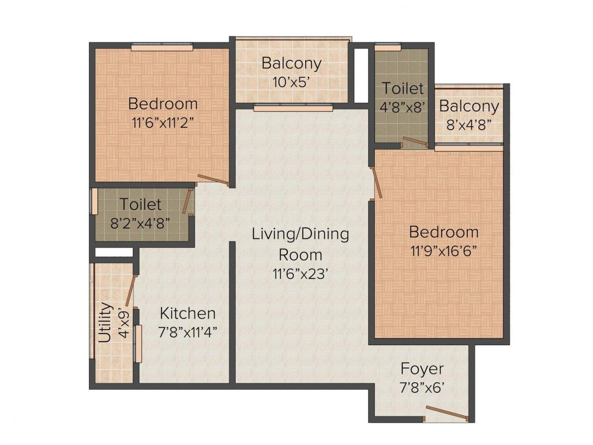 Floor Plan Image of 966.0 - 1306.0 Sq.ft 2 BHK Apartment for buy in Vandana West Ridge