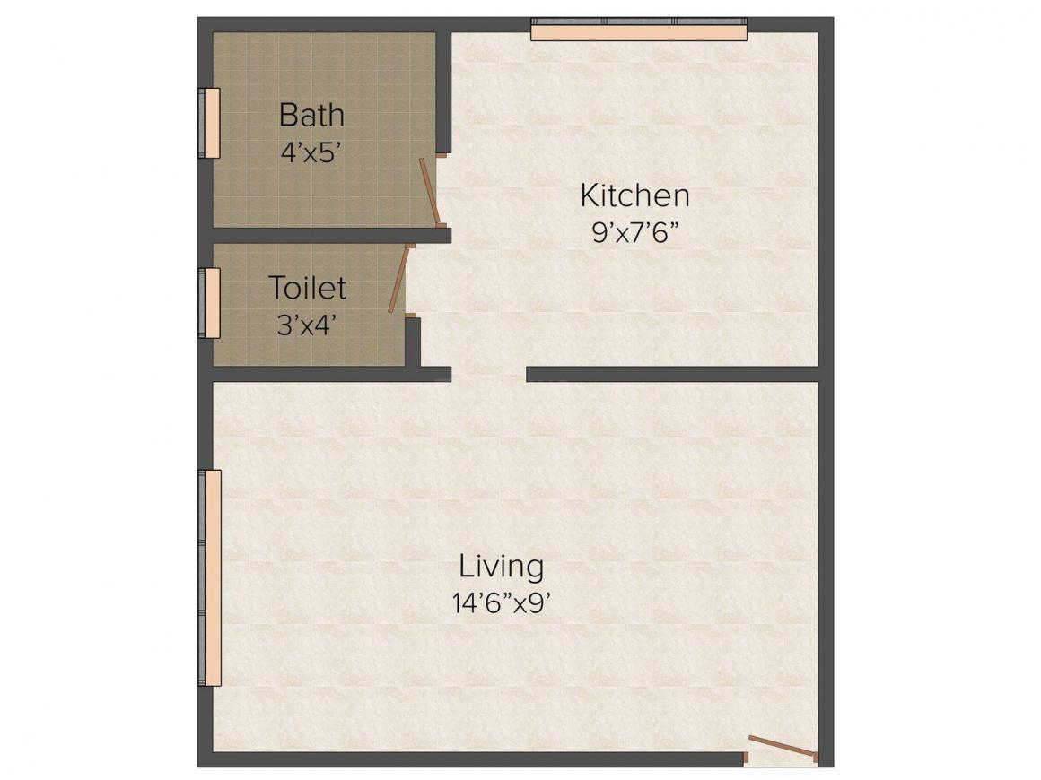 Morya Shree Shivam Sankul Floor Plan: 1 BHK Unit with Built up area of 273 sq.ft 1