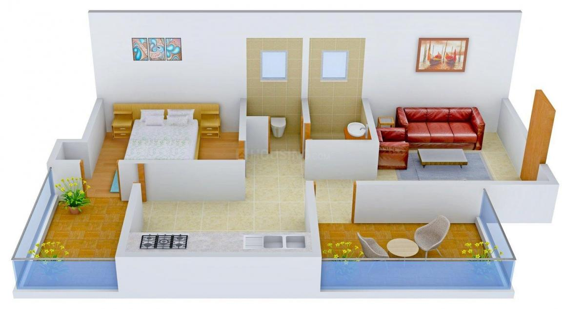 Floor Plan Image of 640.0 - 873.0 Sq.ft 1 BHK Apartment for buy in M S Complex