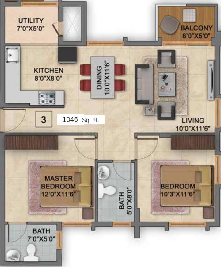Vaishnavi Gardenia Floor Plan: 2 BHK Unit with Built up area of 1045 sq.ft 1