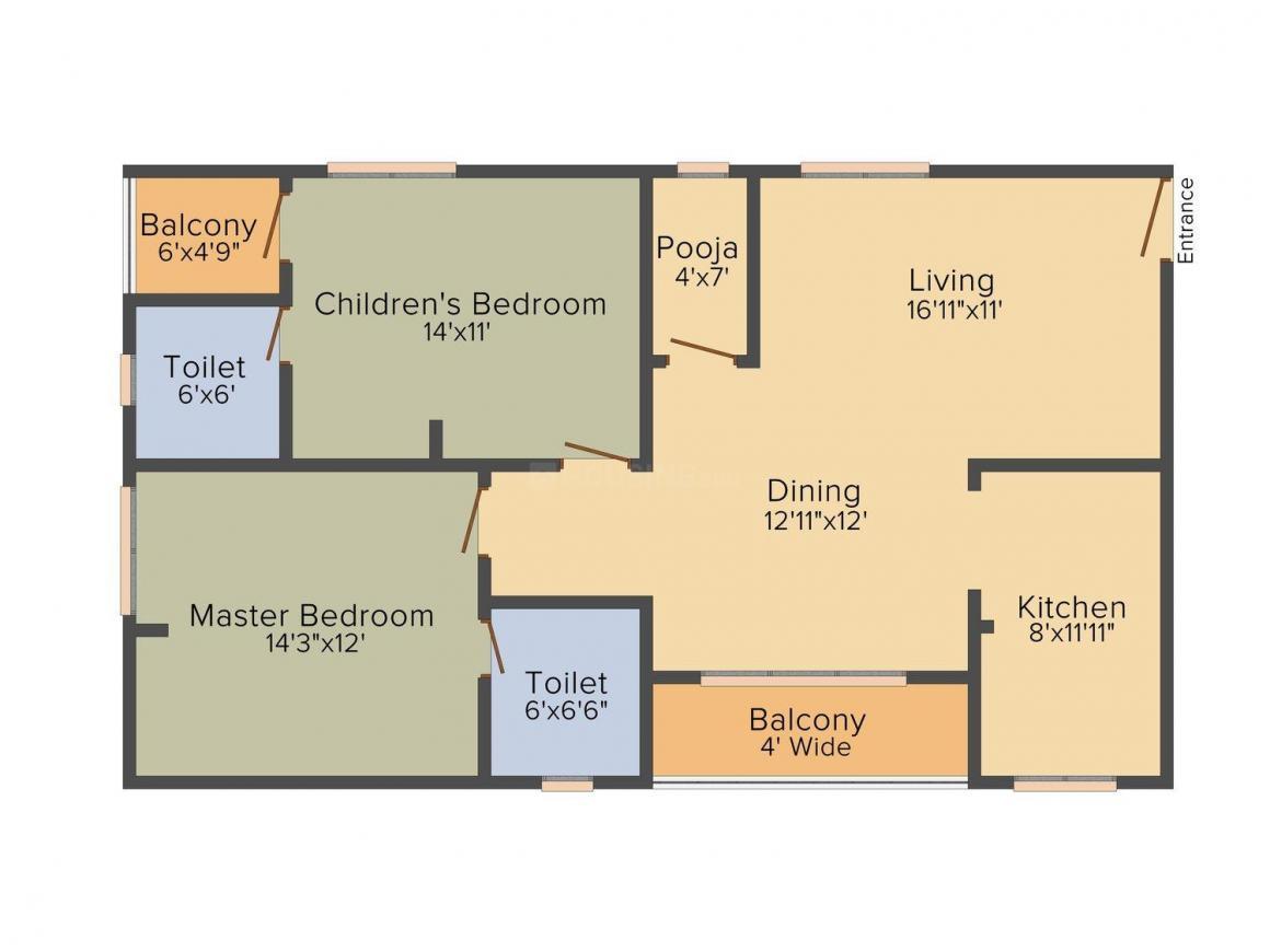 Floor Plan Image of 1282.0 - 1616.0 Sq.ft 2 BHK Apartment for buy in Viswa Golden Blossom Vishwas Constructions