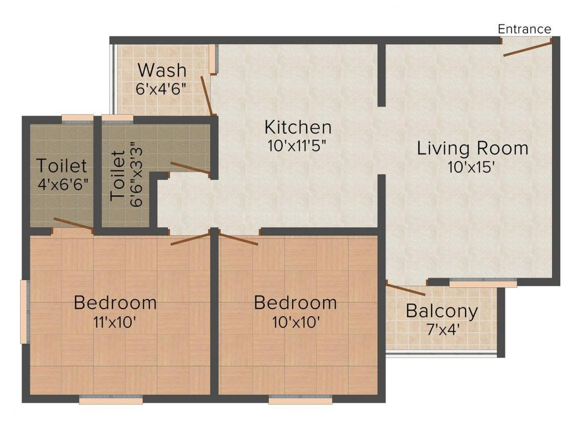 Floor Plan Image of 1032 - 1461 Sq.ft 2 BHK Apartment for buy in Sakar 99