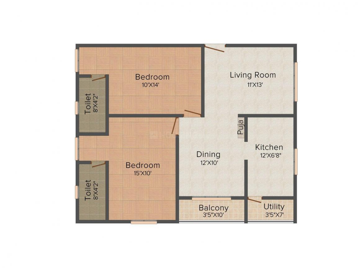 Floor Plan Image of 0 - 1100.0 Sq.ft 2 BHK Apartment for buy in Maruti Maha Lakshmi